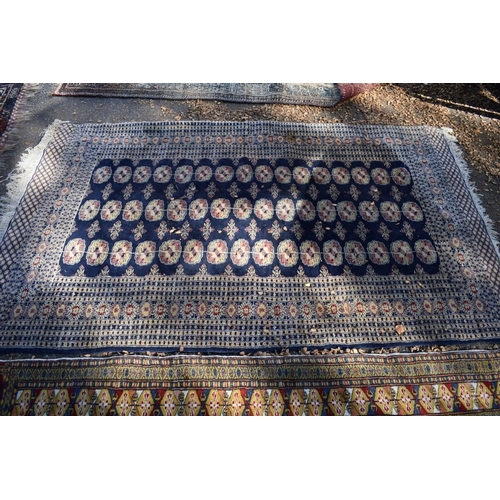 1247 - <strong>Two Bokhara style rugs; </strong>together with a similar green rug,largest 210 x 127cm....