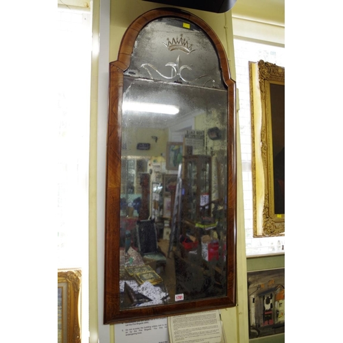 1781 - <strong>An early 18th century walnut crossgrain framed pier mirror, </strong>112 x 49.5cm....