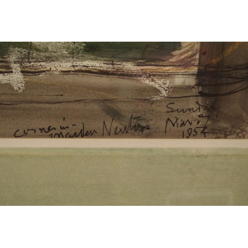 1782 - <strong>John Piper, </strong>'Corner in Maiden Newton', signed, titled and dated 'Sunday Nov 7 1954'...