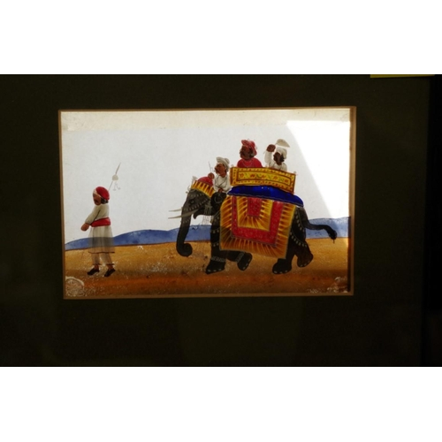 1783 - <strong>Indian School,&nbsp;</strong>figures and animals, a set of four, gouache on mica, 7.5 x 12cm...