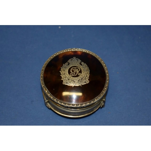 15 - A silver and tortoiseshell jewellery casket, Birmingham 1915, inlaid Royal Engineers insignia, 7.5cm...