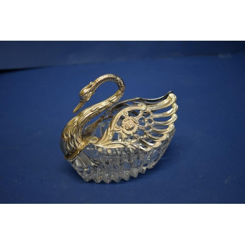 20 - A silver mounted cut glass swan pin dish,10cm high,import mark for London 1970.
