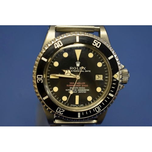 201 - <strong>A rare circa 1967 Rolex Sea-Dweller Submariner 'Double Red' gentleman's wristwatch, patent p...