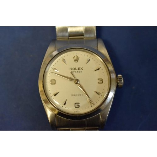 202 - <strong>A1960s Rolex Oyster Precision stainless steel gentleman's wristwatch</strong>, 40mm case, o...