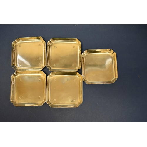 37 - Four silver pin trays,by C J Vander Ltd,London 1961; together with another example, Shef...