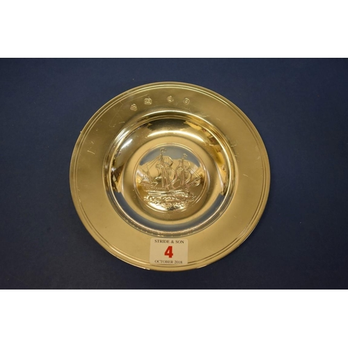 4 - <strong>A silver alms dish decorated galleon to centre,&nbsp;</strong><em>by C J Vander Ltd,&nbsp;</...