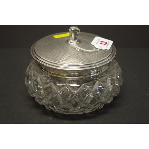 13 - <strong>A silver lidded cut glass powder bowl,</strong><em>&nbsp;by Alexander Clark &amp; Co</em>, B...