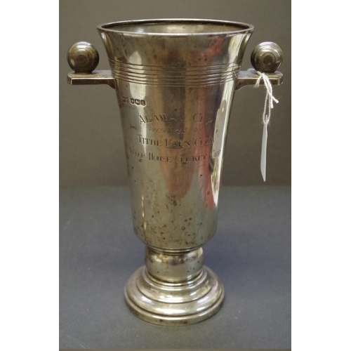 24 - <strong>A silver twin handled Cricket trophy cup,</strong>&nbsp;<em>by Walker &amp; Hall,&nbsp;&nbsp...