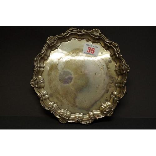 35 - <strong>A silver waiter,</strong> <em>by Frank Hawker Ltd,</em> Birmingham 1972, 19cm, 257g....