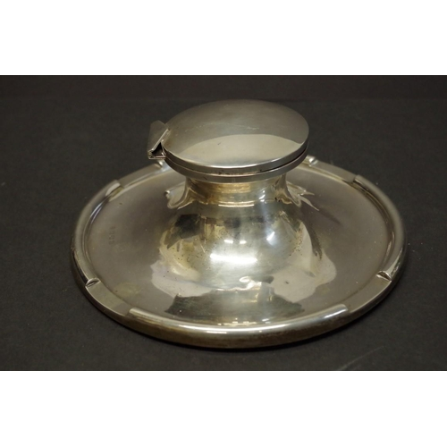 38 - <strong>A large Edwardian silver capstan inkwell,</strong> <em>by A &amp; J Zimmerman, </em>Birmingh...