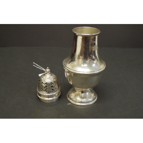 4 - <strong>A silver sugar castor,</strong>&nbsp;<em>by Walker &amp; Hall, </em>Birmingham 1948, 18cm, 1...