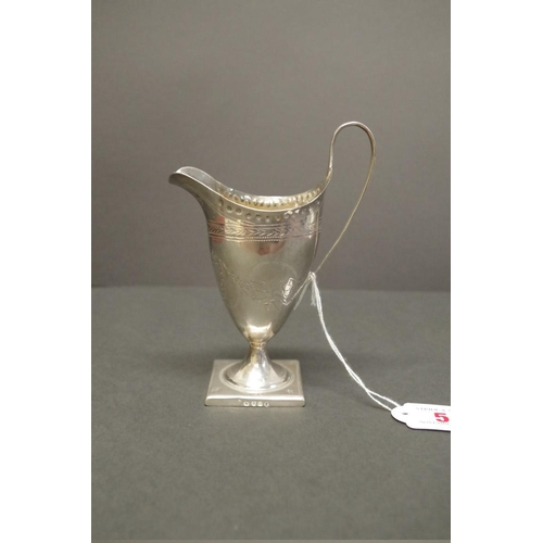 5 - <strong>A George III silver helmet cream jug,</strong> London 1795, 15.5cm, 85.5g...