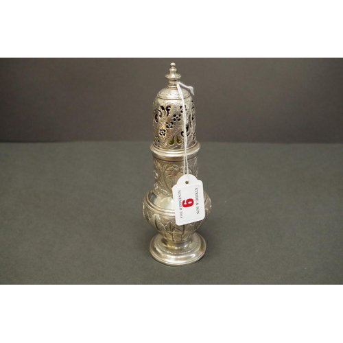 9 - <strong>A George ll silver caster</strong>, <em>by</em> <em>J W?, </em>London 1755, 19.5cm, 251g....