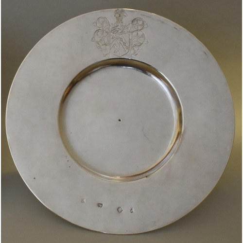 30 - <strong>An exceptionally rare Commonwealth era silver broad rim plate</strong>, by A F,  London 1654...