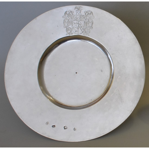 31 - <strong>An exceptionally rare Commonwealth era silver broad rim plate,</strong> <em>by</em> <em>A F,...