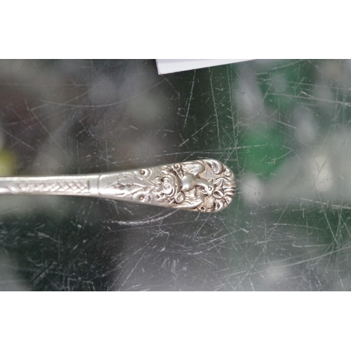43 - <strong>A quantity of silver and other metal items,</strong> to include napkin rings and a hammered ...
