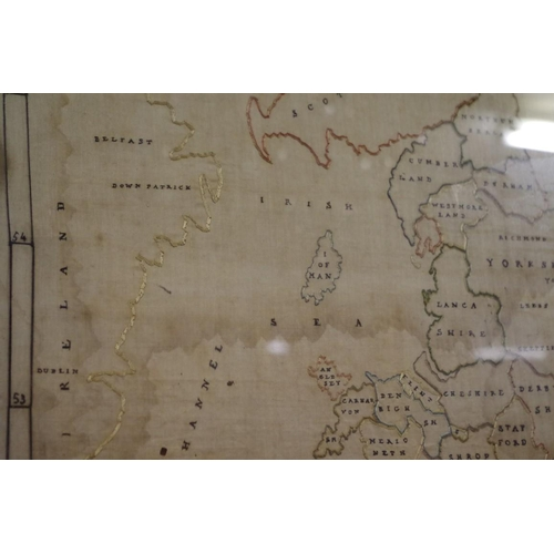 1074 - <strong>A George III needlework map sampler of England & Wales, </strong>by Elizabeth Saunders, ...