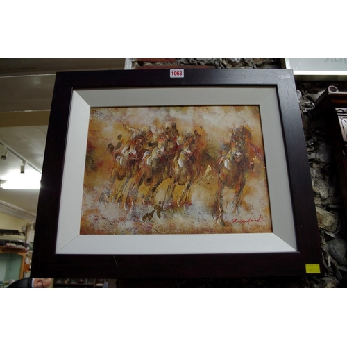 1063 - <strong>R Sanford, </strong>a horse race, signed, oil on canvas, 28.5 x 39cm....