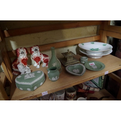 1071 - <strong>A mixed lot,</strong> to include a pair of Victorian Staffordshire pottery dogs; a brass ink...