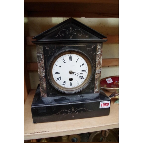 1080 - <strong>A Victorian slate and marble mantel clock,</strong> 27cm high. ...