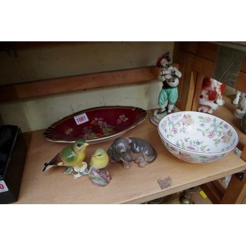 1081 - <strong>A small group of ceramics,</strong> to include a Royal Copenhagen Daschund; and a Crown Devo...