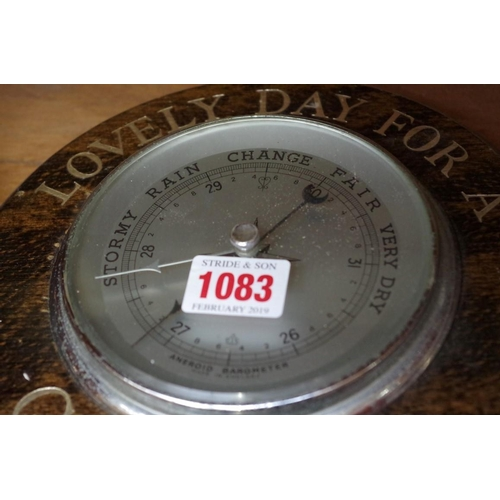 1083 - <strong>Two Guinness advertising beechwood framed aneroid wall barometers.</strong>...