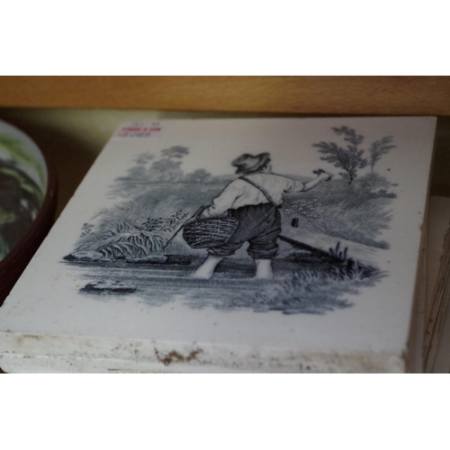 1085 - <strong>A mixed lot,</strong>to include a set of seven Mintons tiles. (2 shelves)...