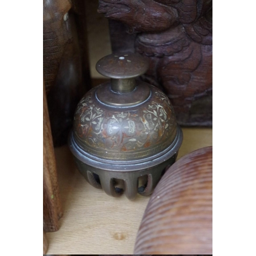 1087 - <strong>A Regency mahogany sarcophagus tea caddy,</strong> 19.5cm wide; together with a pair of hard...