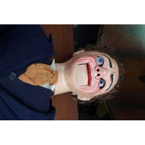 1116 - <strong>A vintage papier-mache ventriloquist dummy,</strong>in old leather suitcase....
