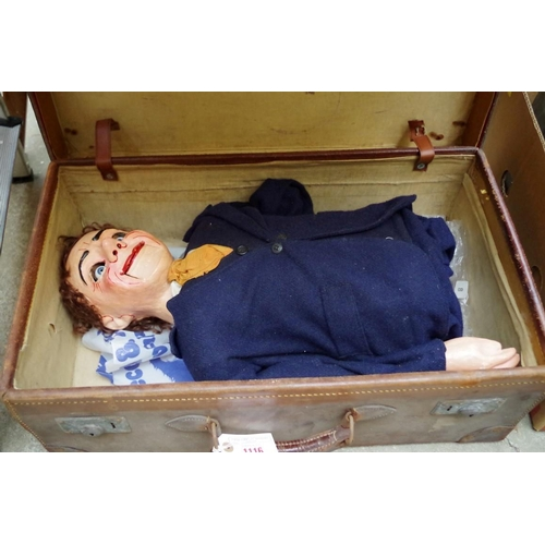 1116 - <strong>A vintage papier-mache ventriloquist dummy, </strong>in old leather suitcase....