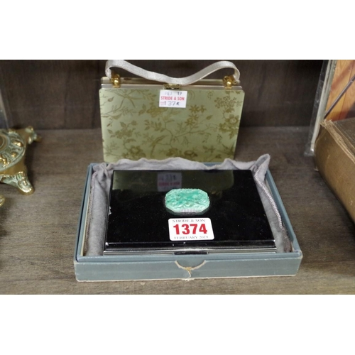 1374 - <strong>An Art Deco jade mounted minaudiere,</strong>12cm wide, in card box; together with ano...