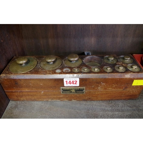 1442 - <strong>An old graduated set of brass metric weights in mahogany case,</strong>bearing plaque ...