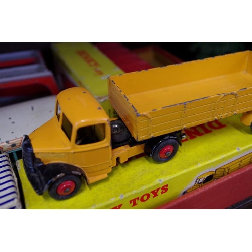1443 - <strong>Five Dinky vehicles, </strong>comprising: Big Bedford Lorry, No.408; Bedford Articulated Lor...