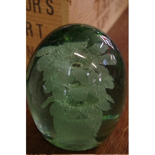 1444 - <strong>Two Victorian green glass dump paperweights,</strong>largest 12cm high, (both bruised)...
