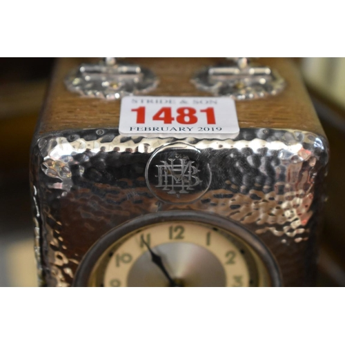 1481 - <strong>A silver mounted oak carriage timepiece, </strong>height including handle 13cm. ...