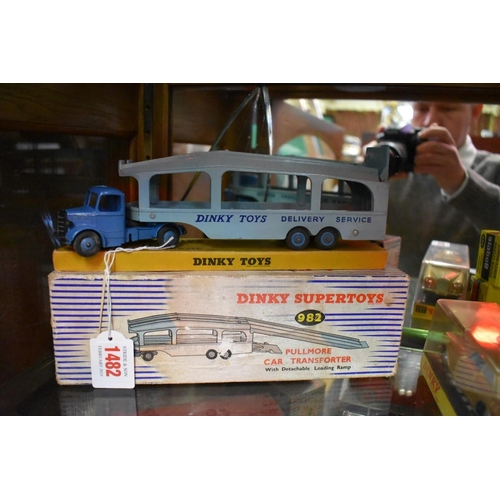 1482 - <strong>A Dinky 982 Pullmore car transporter;</strong> together with Dinky 794 loading ramp, bo...