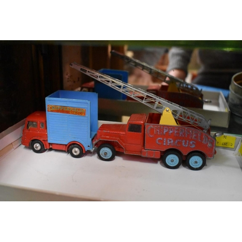 1493 - <strong>Three Corgi Chipperfields Circus vehicles, </strong>comprising a Bedford tractor unit and ho...