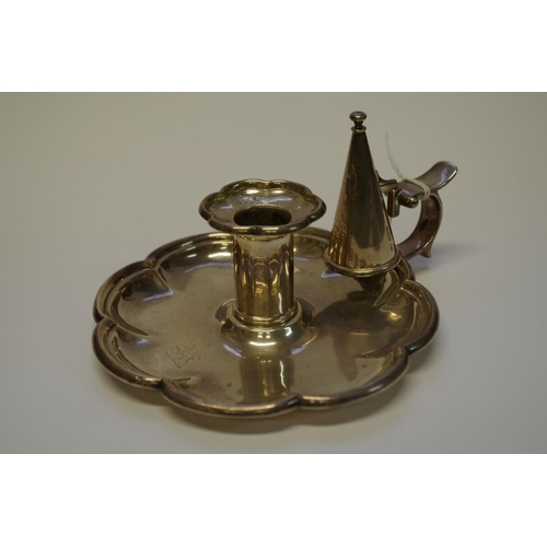 1 - <strong>A William IV silver chamberstick,</strong> <em>by Robert Hennell III,</em> London 1837, 14.5...