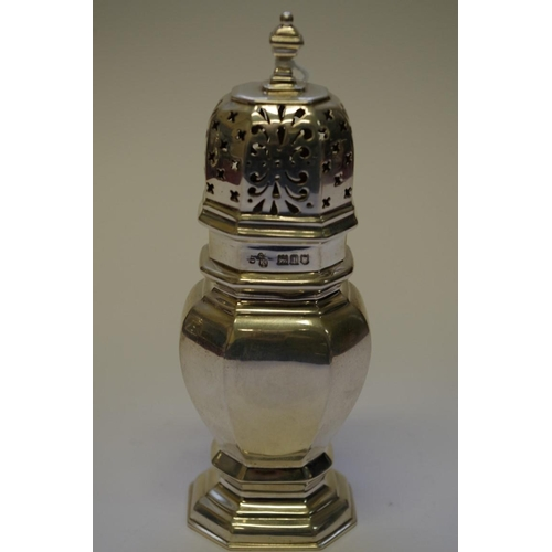 13 - <strong>A silver sugar caster</strong>, <em>by C.S Harris & Sons Ltd,</em> London 1906, 15cm, 12...