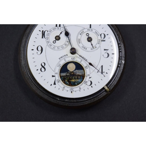 153 - <strong>A vintage Swiss steel open faced stem wind pocket watch,</strong> the dial having subsidiary...
