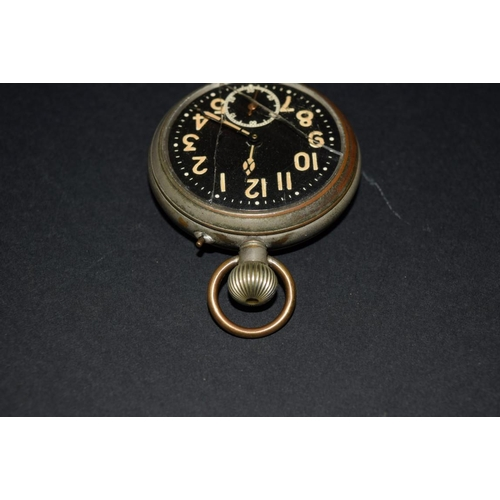154 - <strong>A vintage military style stem wind open face pocket watch, </strong>50mm....