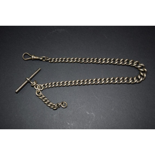 155 - <strong>A silver watch chain, </strong>having swivel, 30cm, 46g....