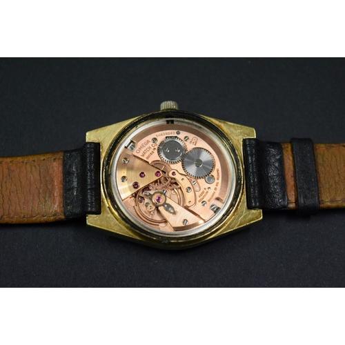 158 - <strong>A 1970s</strong><strong>Omega</strong><strong>gold plated gentlemans wristwatch</strong>, ...