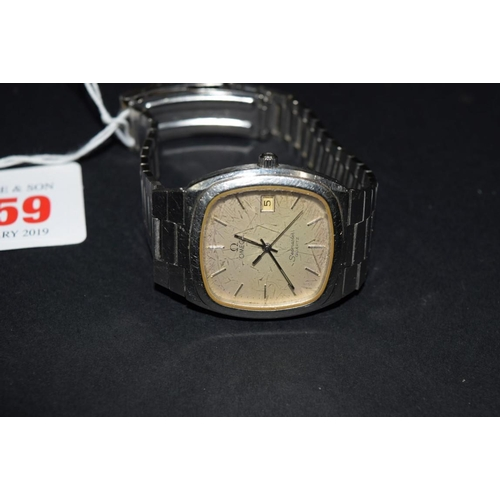 159 - <strong>A vintage Omega Seamaster stainless steel quartz gentlemans wristwatch</strong>, on stainles...