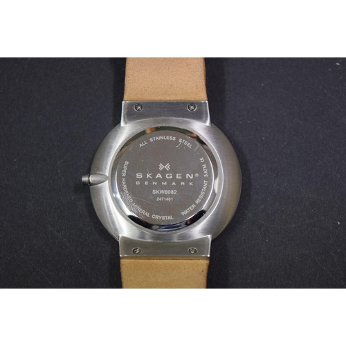 164 - <strong>A Skagen Ancher SKW6082 stainless steel gentlemans wristwatch,</strong> on brown Leather str...
