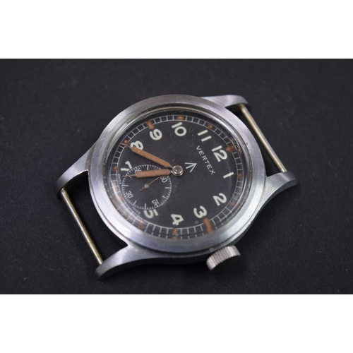 167 - <strong>A Vertex WWII 'Dirty Dozen' British military manual wristwatch,</strong> case stamped broad ...