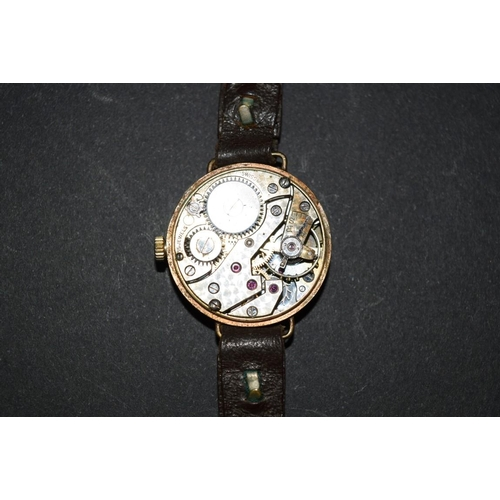 181 - <strong>A 9ct gold Vertex ladies wristwatch on ribbon strap</strong>; together with another 9ct gold...