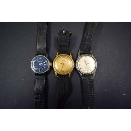 185 - <strong>Three vintage gentlemans wristwatches</strong>, by Cauny, Exactima and Roamer....