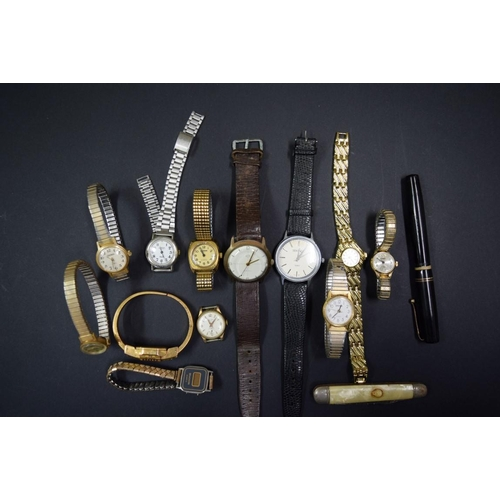 187 - <strong>A vintage UMF RUHLA gentlemans wristwatch;</strong> together with various other ladies and g...