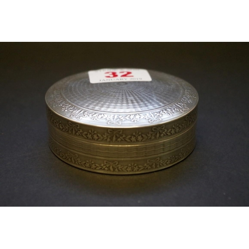 32 - <strong>A silver circular engine turned box,</strong><em>by William Base & Sons, </em>Birm...